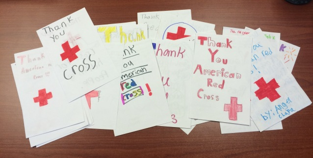 Red Cross thank you cards from Sanger, CA school children