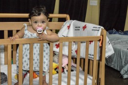 This child can sleep safely in this crib that was donated to the Red Cross at the Spartenburg Expo Shelter. Photo by Virginia Becker