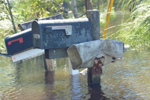 Mailboxes along the street show the impact of floodwaters after Hurricane Matthew. Photo by Virginia Becker