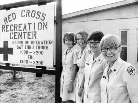 November 1969. Tuy Hoa, Vietnam. SRAO Rec Center staff. From left to right: Dolly Hasselwander, Sharon Bernardi, Mary Gin Kennedy, and Sandy Rhoten. Photo by James E. Caccavo/American Red Cross