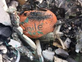A painted rock gives an optimistic reminder amidst the destruction of the Thomas Fire